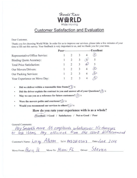 World Wide Moving Customer Review
